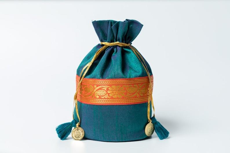 9c30f09541e9 Midnight green Drawstring Pouch - Boho Purse - green Silk Purse - Yoga  Gifts - Gift Bag - Purse with Tassels - Makeup Bag - Christmas gift
