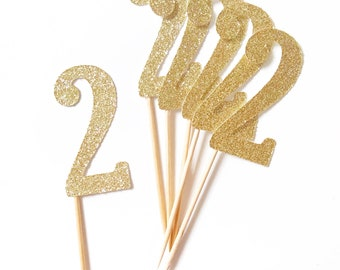 Gold Glitter 2nd Birthday Cupcake Toppers