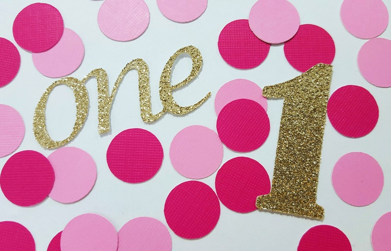 100 Pcs Gold Or Silver Glitter First Birthday Pink Confetti