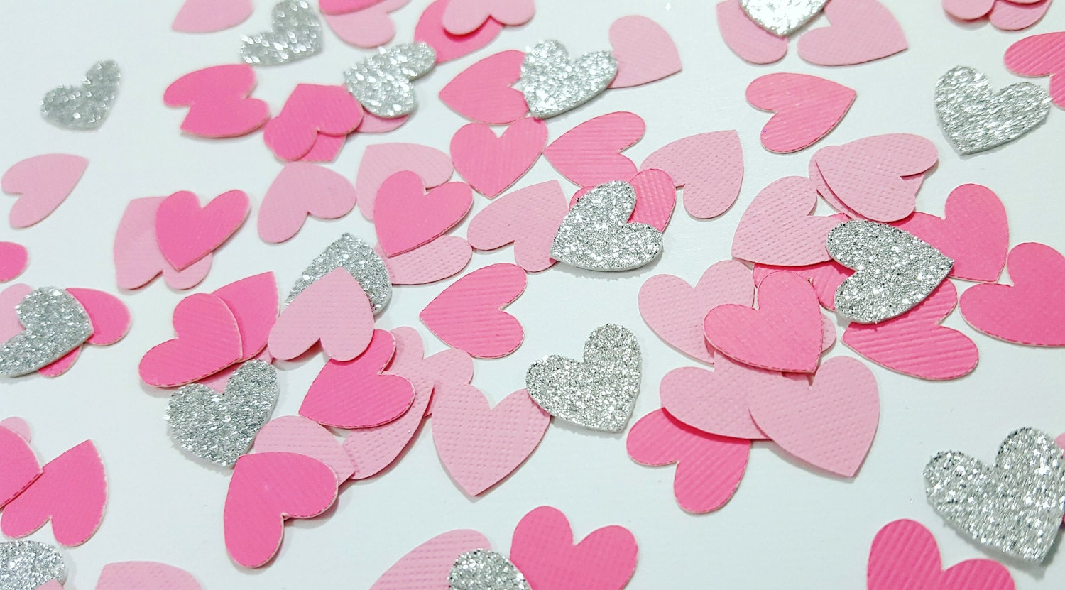 Light Pink, Medium Pink, Silver or Gold Glitter Heart Confetti ...