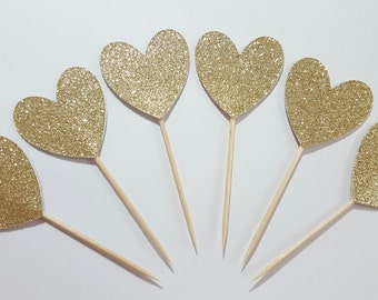 12 Gold Glitter DOUBLE SIDED Heart Cupcake Toppers / Engagement Party Cupcake Toppers / Bridal Shower Decorations / Wedding Cupcake Toppers