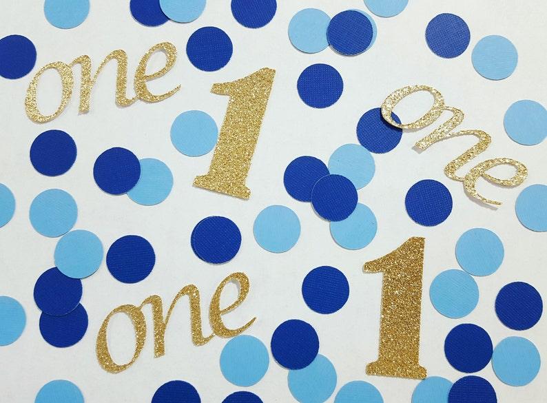 1st Birthday Confetti Gold Or Silver Light Blue Navy