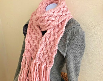 Pink Knitted Scarf with Fringe, Long Knit Scarf, Chunky Knit Scarf, Celtic Scarf, Light Pink Scarf, Breast Cancer, Spring Scarf