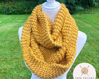 Yellow Infinity Scarf, Mustard Knit Scarf, Circular Scarf, Autumn Colors, Christmas Gift, Chunky Knitted Scarves, Neck Warmer, Thick Scarf