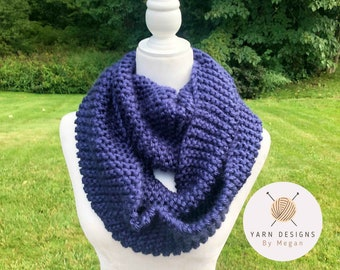 Dark Blue Infinity Scarf, Navy Colored Scarf, Winter Scarf, Neck Accessory, Women's Scarf, Chunky Knit, Knitted Scarves, Custom Knit Scarf