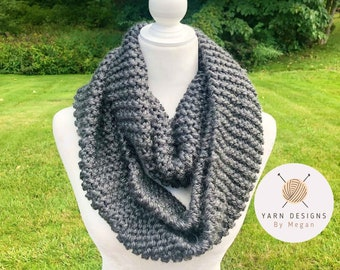 Charcoal Infinity Scarf, Dark Gray Scarf, Soft Knit Scarf, Handmade Scarf, Super Bulky Scarves, Christmas Gift, Winter Scarf, Fall Scarf