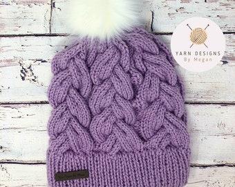 Purple Knit Hat, Lilac Braided Hat, Purple and White, Light Purple Cable Knit Hat, Chunky Knit Hat, Knitted Beanie, Knit Cap, White Pom Pom