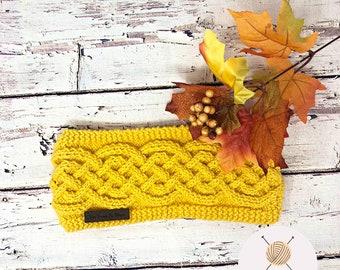 Yellow Headband, Knit Ear Warmer, Knitted Headband, Cable Knit Headband, Fall Accessory, Mustard Color Head Band, Autumn Hat, Knit Wear