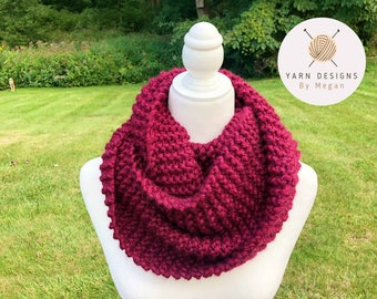 Dark Red Scarf, Bulky Scarf, Neck Accessory, Cold Weather Scarf, Mystery Gift Idea, Women's Scarf, Soft Knitted Scarves, Super Bulky