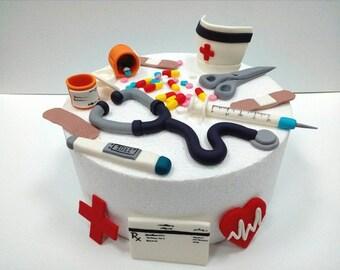Nurse Doctor Fondant Cake Toppers 30 Pcs Decoration Kit