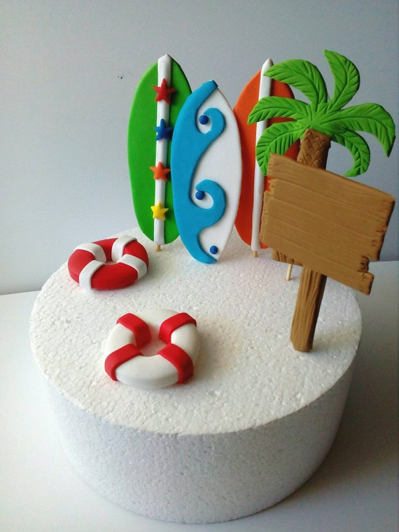 Fabulous Surfboard Fondant Cake Toppers 7 Pcs Etsy Personalised Birthday Cards Petedlily Jamesorg