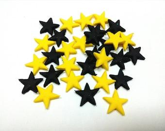 Batman cake toppers 300 yellow and black stars 1cm Edible fondant