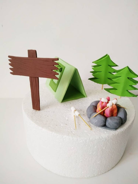 Fondant camping cake topper with set of 24 cupcake toppers