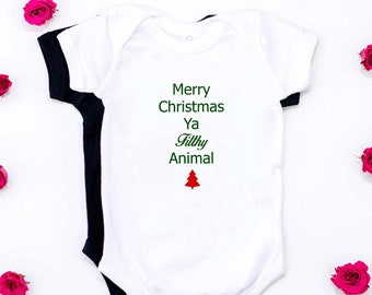 merry christmas ya filthy animal onesie baby photos baby shower gifts christmas body suithome alone creeper - Merry Christmas Ya Filthy Animal Onesie