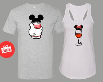 Disney Drinking Matching Shirts. She's Mine He's Mine Disney Couples Shirt. Disneyland Matching Shirts. Disney Valentines Day [E0624][E0625]