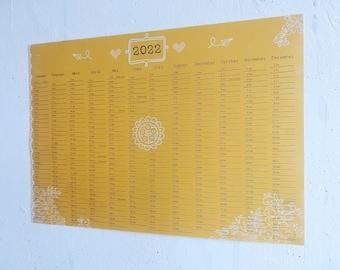 Annual Planner 2022 Wall Calendar A3