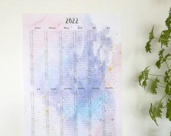 Colorful Annual Planner 2022 Wall Calendar A2