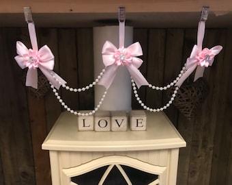 Beautiful  3  clip bow Pram charm girl romany bling girl Pink Grey Romany Bling