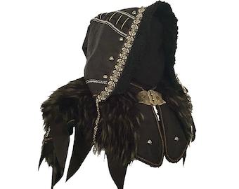 LARP Hood / Ornate Leather hood / Black / Faux Leather / Cosplay Costume / Viking / Ranger / Necromancer / Wood Elf / LARP