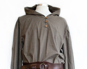 ca2d90e7354 Hooded Linen Shirt - Brown - LARP, Cosplay, SCA, Costume SALE