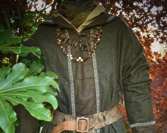 96257c3dd11 Heathered Woollen Tunic with Hood Green/Brown- LARP, Cosplay, SCA, Costume