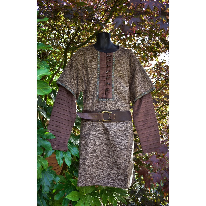 Cosplay Costume Woollen Tunic with Layered Suade Effect Sleeves Brown NEW DESIGN!- LARP