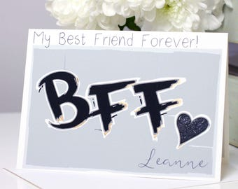 Best Friend Card BFF, My Best Friend Forever, Personalised Friendship Card, Bestie Girl Friend, Just Because Card for Her by Liza J design