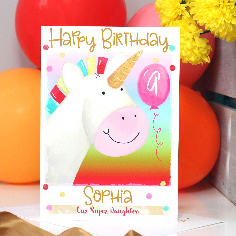 Personalised Christmas Card Glitter Unicorn Daughter Mummy Mum Granddaughter