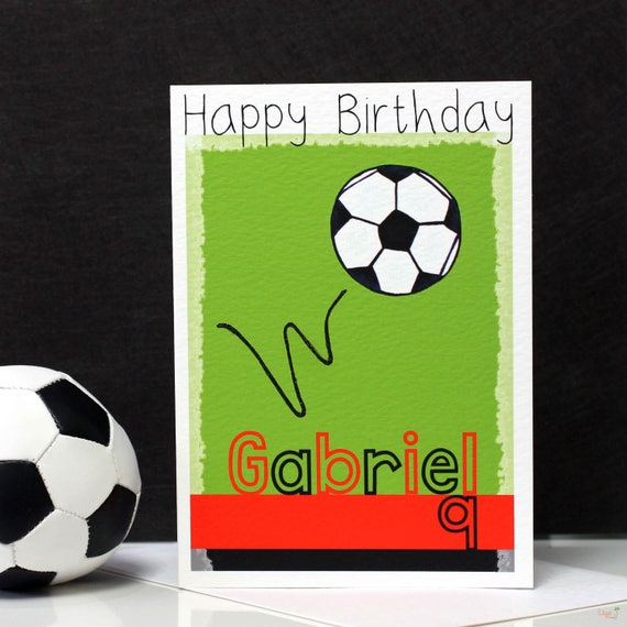 Personalised Any Age Soccer OMG A5 Birthday Card Team Name Football Colour