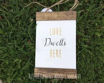 """Wall Decor l Love Dwells Here l Wood Signs l Custom Signs l 8""""x12"""" l Home Decor"""