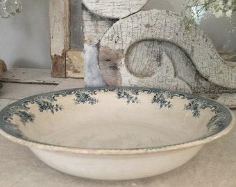 French antique ceramic bowl// Saint Amand & Hamage Nord model La Vallière//French Large Ceramic serving Dish