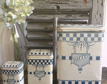 Set of 3 French Vintage Tin Canisters with Lustucru Pattern// Blue and White Tin Canisters //1950 French Tin Canisters