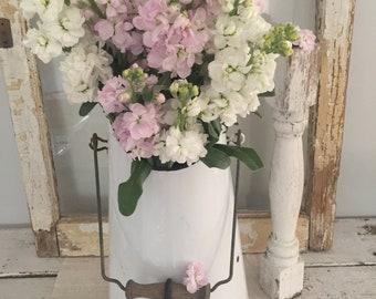 French Enamel Coal Bucket//Vintage Enamel White Bucket// French Coal Scuttle// French Farmhouse