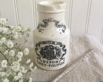 Antique French Mustard Pot Dijon Grey-Poupon // Vintage Stoneware French Mustard Jar // French Ironstone Mustard Pot