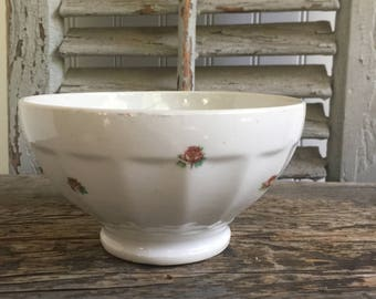 French Antique  Café au Lait Bowl// Vintage French Bowl// French Kitchen Bowl//White with Roses Café au Lait Bowl// French Breakfast