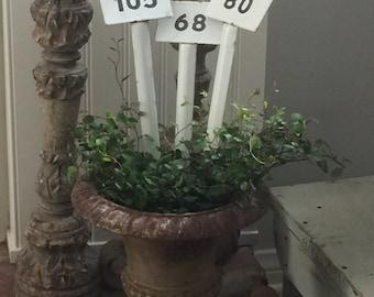 Vintage Enamel Nursery Row Markers// Vintage Garden Plant Labels//  Label Numbers //Plant Markers// Vintage Enamel Botanical Label Stakes