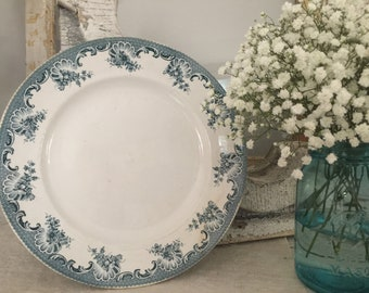 French Large Antique serving plate// From Saint Amand & Hamage Nord Model La Vallière//French Round Serving Dish