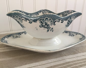 French Antique Gravy Boat// From Saint Amand & Hamage Nord Model La Vallière//  French Sauce Boat