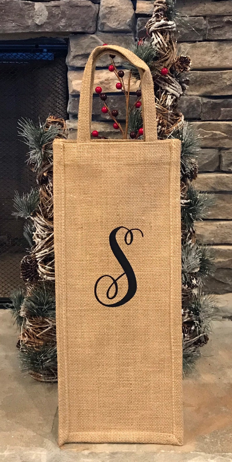 Personalized Burlap Wine Bottle Gift Bag Christmas