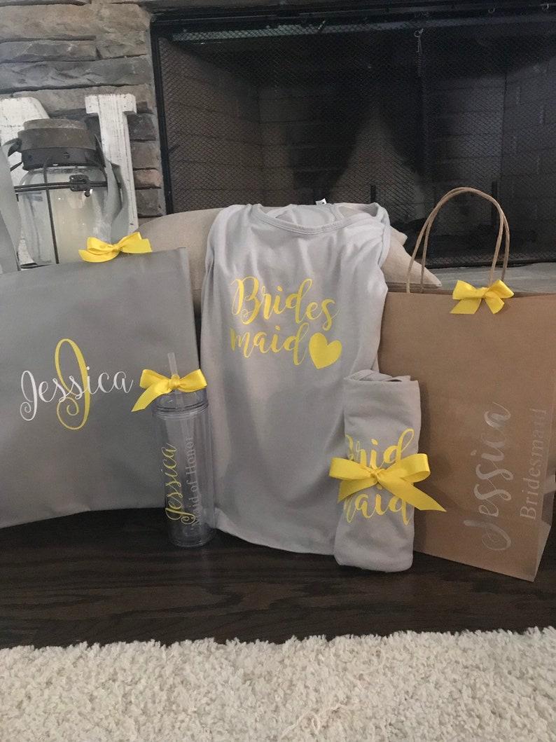 tumbler shirt Bridesmaid proposal gift set with personalized gift bag bridesmaid gifts bridal party bag unique gifts for bridesmaid