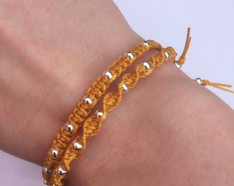 Mustard yellow bracelets, delicate macrame friendship bracelets, with silver beads, adjustable