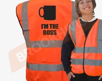 Kids Fun I'M THE BOSS Hi Viz Vis Vest Childs Reflective Waistcoat Jacket Safety Fancy Dress Joke High Visibility