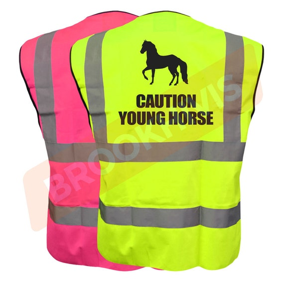 Equestrian CAUTION YOUNG HORSE Hi Viz Vis Vest Horse Riding Reflective Waistcoat Jacket Road Safety Visibility