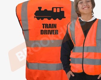 Kids Fun TRAIN DRIVER Hi Viz Vis Vest Childs Reflective Waistcoat Jacket Safety Fancy Dress Joke High Visibility