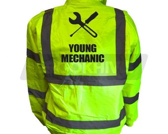 Kids Fun YOUNG MECHANIC Hi Viz Vis Bomber Jacket Childs Reflective Waistcoat Coat Safety Fancy Dress Joke High Visibility