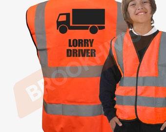 Kids Fun LORRY DRIVER Hi Viz Vis Vest Childs Reflective Waistcoat Jacket Safety Fancy Dress Joke High Visibility