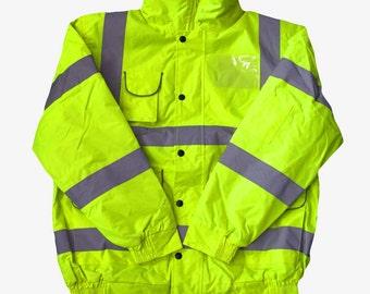 Hi Vis Viz Bomber Jacket Yellow High Visibility Reflective Safety Waterproof Work Coat