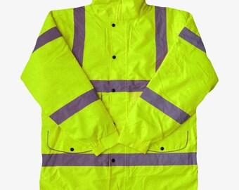 Hi Vis Viz Yellow Parka Jacket High Visibility Reflective Safety Waterproof Work Coat
