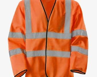 Hi Viz Vis Orange Light Jacket Reflective Lite Lightweight Coat Safety Work Wear High Visibility