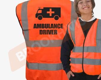 Kids Fun AMBULANCE DRIVER Hi Viz Vis Vest Childs Reflective Waistcoat Jacket Safety Fancy Dress Joke High Visibility